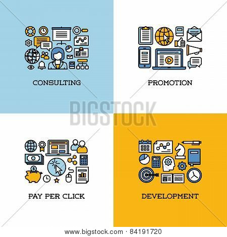 Flat Line Icons Set Of Consulting, Promotion, Pay Per Click, Development. Creative Design Elements