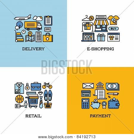 Flat Line Icons Set Of Delivery, E-shopping, Retail, Payment. Creative Design Elements
