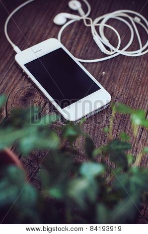 smartphone with headphones