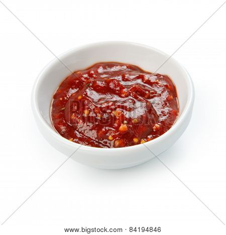 Tomato Sauce In A White Bowl