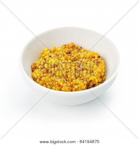 Closeup Of French Mustard In White Bowl