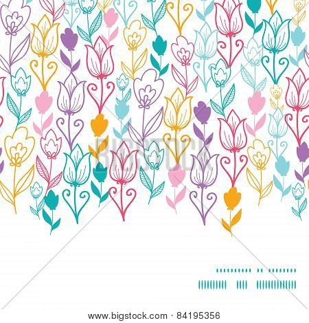 Vector Colorful Tulip Flowers Horizontal Frame Seamless Pattern Background