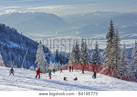 Skiers On Slope