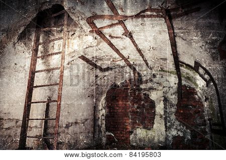 Abandoned Bunker Interior With Rusted Constructions