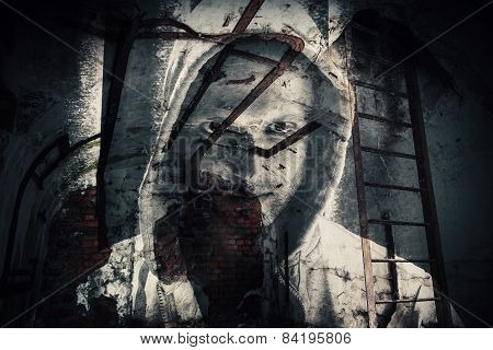 Horror Background, Abandoned Dark Room With Ghost