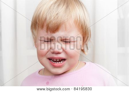 Closeup Portrait Of Blonde Crying Baby Girl
