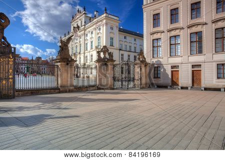 View On Archbishops Palace From The First Courtyard Of Prague Castle. Hdr Image