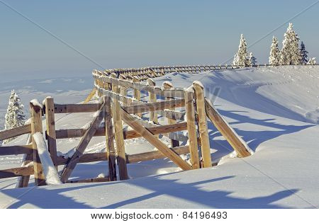 Wooden Enclosure In Wintertime