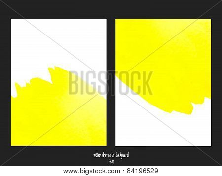 Vector background with watercolor yellow.