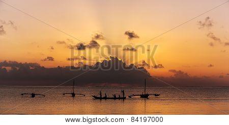 Ocean, people, boat, sun, clouds, nature, landscape, travel
