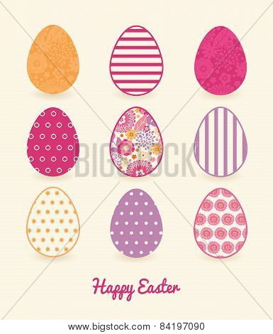 Vector Warm Summer Plants Set of Nine Colorful Easter Eggs Card Template