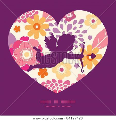 Vector warm summer plants shooting cupid silhouette frame pattern invitation greeting card template