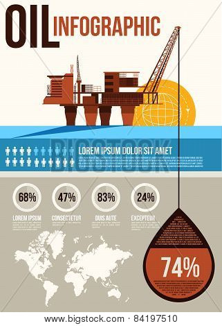 Oil Infographic. Oil and gas offshore industry with stationary platform