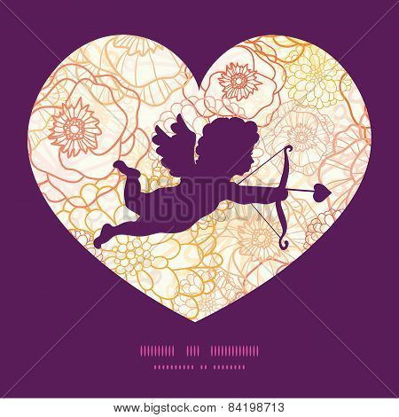 Vector warm flowers shooting cupid silhouette frame pattern invitation greeting card template