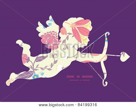 Vector fresh field flowers and leaves shooting cupid silhouette frame pattern invitation greeting ca