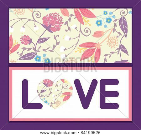 Vector fresh field flowers and leaves love text frame pattern invitation greeting card template