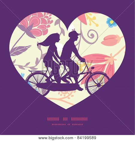 Vector fresh field flowers and leaves couple on tandem bicycle heart silhouette frame pattern greeti