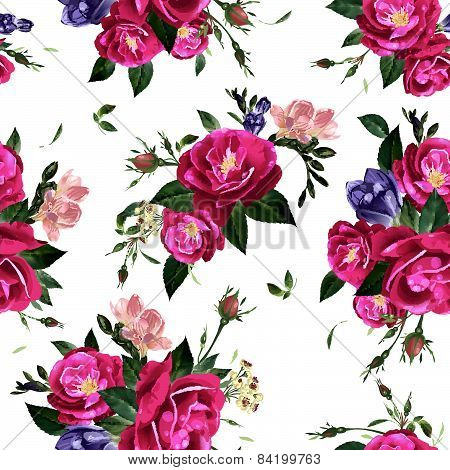 Abstract Seamless Floral Pattern With Roses And Freesia