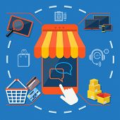 foto of internet shop  - Internet shopping concept smartphone with awning of buying products via on line shop store e - JPG