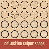 image of sniper  - Collection of 10 vector sniper scope - JPG