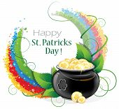 stock photo of pot gold  - Leprechaun pot with gold coins on rainbow background  - JPG