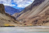 pic of jammu kashmir  - Scenic view of Confluence of Zanskar and Indus rivers  - JPG