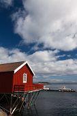 image of lofoten  - Typical red rorbu fishing hut in town of A village on Lofoten islands in Norway lit by midnight sun - JPG