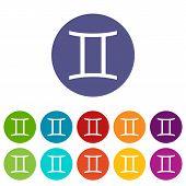 stock photo of gemini  - Gemini web flat icon in different colors - JPG