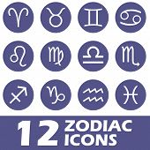 picture of pisces horoscope icon  - Zodiac icons set on a white background - JPG