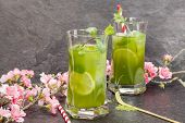 pic of mint-green  - Healthy Iced Matcha Tea with lime - JPG