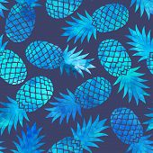 stock photo of exotic_food  - Vintage vector pineapple seamless for your business - JPG
