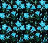 stock photo of azalea  - Seamless vector vintage pattern with azalea flowers - JPG