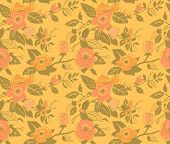 pic of dog-rose  - Seamless vintage vector pattern with dog roses - JPG