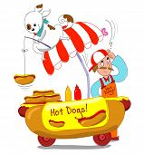 picture of working-dogs  - Humorous vector with dog fishing an hot dog from a cart - JPG