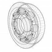 picture of ball bearing  - steel ball roller bearings body structure wire model - JPG