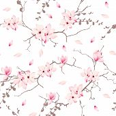 picture of japanese magnolia  - Magnolia blossom trees seamless vector pattern - JPG