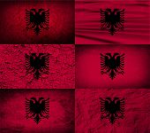 picture of albania  - Flag of Albania with old texture - JPG