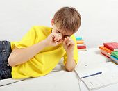 picture of homework  - Tired Teenager doing Homework at the Home - JPG