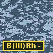 picture of camouflage  - Badge of the third group of blood with a negative Rh on a blue camouflage background - JPG