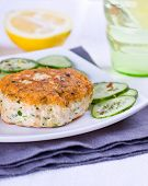pic of patty-cake  - Healthy salmon patty with cucumbers for dinner - JPG
