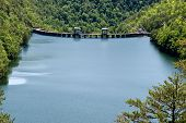 image of hydro  - Beautiful shot of a hydro electric dam on a mountain lake - JPG