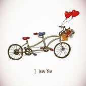 pic of tandem bicycle  - Vintage floral card with Tandem bike and balloons hearts - JPG