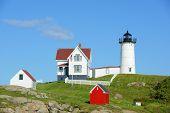 picture of lighthouse  - Cape Neddick Lighthouse  - JPG