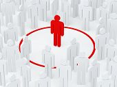 pic of loneliness  - Loneliness man surrounded red circle among crowd - JPG