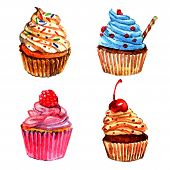 image of whipping  - Delicious cupcakes with vanilla raspberry whipped cream sprinkled filling watercolor pictograms collection sketch abstract isolated vector illustration - JPG