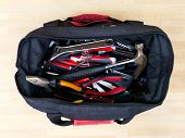 stock photo of vanadium  - A close up shot of a tool box carry bag - JPG