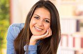 picture of denim wear  - portrait of cute young brunette wearing denim shirt - JPG