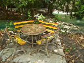 picture of kan  - Table and chairs set among nature at Wang Kan Lueang Waterfall - JPG