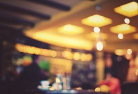 stock photo of cafe  - Blurred cafe  - JPG