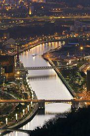 picture of nightfall  - Nightfall in Bilbao Bizkaia Basque Country Spain - JPG